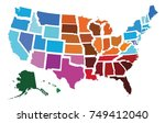 usa administrative regional map | Shutterstock .eps vector #749412040