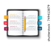 vector notebook with pencil and ... | Shutterstock .eps vector #749413879