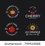 vintage cherry  pumpkin  tomato ... | Shutterstock .eps vector #749414068