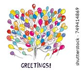 balloons greeting card for... | Shutterstock .eps vector #749414869