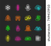 winter neon icon set  vector... | Shutterstock .eps vector #749415910