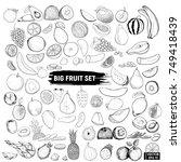 big set of fruits  doodle. | Shutterstock .eps vector #749418439