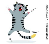 Stock vector cheerful jumping cat feline funny character vector illustration 749419909