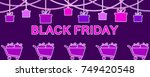 black friday. hanging gift... | Shutterstock .eps vector #749420548