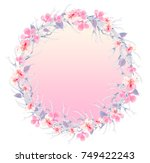 oriental cherry wreath   Shutterstock . vector #749422243