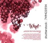 vector background with wine...   Shutterstock .eps vector #749423554