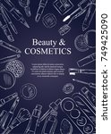 sketch of cosmetics products ... | Shutterstock .eps vector #749425090