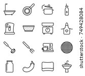 thin line icon set   bath  pan  ... | Shutterstock .eps vector #749428084
