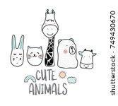 cute cartoon sketch animals for ...   Shutterstock .eps vector #749430670