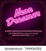 bright neon alphabet letters ... | Shutterstock .eps vector #749434303