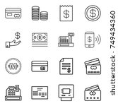 thin line icon set   card  coin ... | Shutterstock .eps vector #749434360