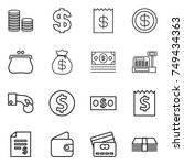 thin line icon set   coin stack ... | Shutterstock .eps vector #749434363