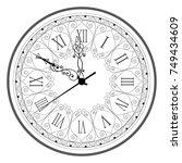 retro clock with roman dial | Shutterstock .eps vector #749434609