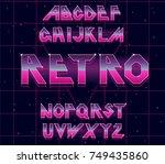 80's retro alphabet font.... | Shutterstock .eps vector #749435860