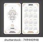 virgo 2018 year zodiac calendar ... | Shutterstock .eps vector #749440948