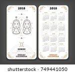 gemini 2018 year zodiac... | Shutterstock .eps vector #749441050