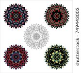 vector collection of mandalas... | Shutterstock .eps vector #749443003