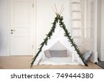 beautiful comfortable tent with ... | Shutterstock . vector #749444380