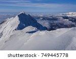 mountain landscape in winter.... | Shutterstock . vector #749445778