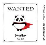 wanted poster cute little panda ...   Shutterstock .eps vector #749449129