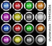exe white icons in round glossy ... | Shutterstock .eps vector #749453836