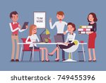 team work in office. group of... | Shutterstock .eps vector #749455396