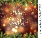 merry christmas invitation.... | Shutterstock .eps vector #749457250