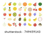 fruit icon set  very colorful... | Shutterstock . vector #749459143
