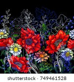 vector seamless horizontal...   Shutterstock .eps vector #749461528