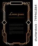 vintage linear border.... | Shutterstock .eps vector #749461864