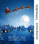 santa claus on deer flying... | Shutterstock .eps vector #749463856