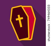 flat icon with shadow coffin   Shutterstock .eps vector #749464333