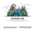 line style camping color vector ... | Shutterstock .eps vector #749465284