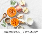 ingredients for pumpkin apple... | Shutterstock . vector #749465809