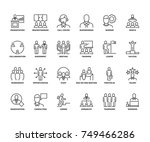 line icons about business... | Shutterstock .eps vector #749466286