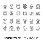 line icons about school.... | Shutterstock .eps vector #749466349