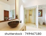bathroom interior in luxury... | Shutterstock . vector #749467180