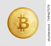Golden bitcoin coin. Crypto currency golden coin bitcoin symbol isolated on transparent background. Realistic vector illustration.