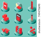 algebra color isometric icons . ... | Shutterstock .eps vector #749470690