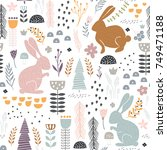 seamless pattern with bunny ... | Shutterstock .eps vector #749471188