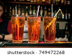 cocktails in glass jars  stand... | Shutterstock . vector #749472268