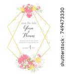 greeting card for the wedding... | Shutterstock .eps vector #749473330