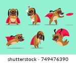 set of cartoon dogs superhero... | Shutterstock .eps vector #749476390