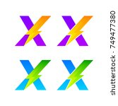 letter x logotype set with... | Shutterstock .eps vector #749477380