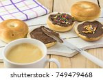 close up of fresh mini bagels... | Shutterstock . vector #749479468