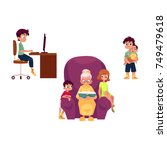 vector flat grandparents... | Shutterstock .eps vector #749479618