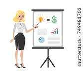 businesswoman with chart board... | Shutterstock .eps vector #749481703