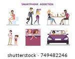 smartphone addiction concept... | Shutterstock .eps vector #749482246