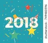 cool vector 2018 new year... | Shutterstock .eps vector #749483596