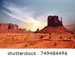 view of monument valley in utah ... | Shutterstock . vector #749484496